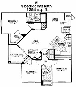 1,254 sq. ft. Pinehurst floor plan