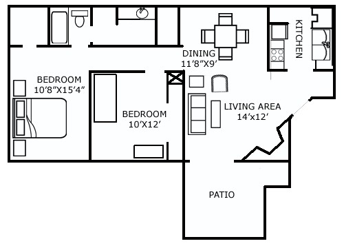 905 sq. ft. D floor plan