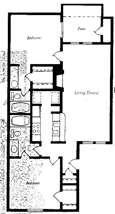 965 sq. ft. B2 floor plan