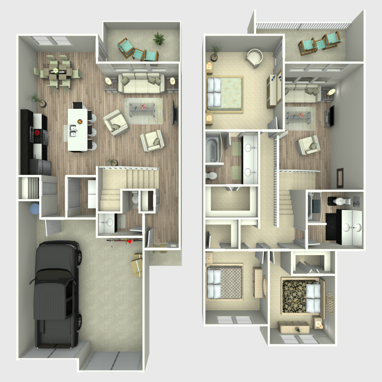 1,704 sq. ft. Townhome floor plan