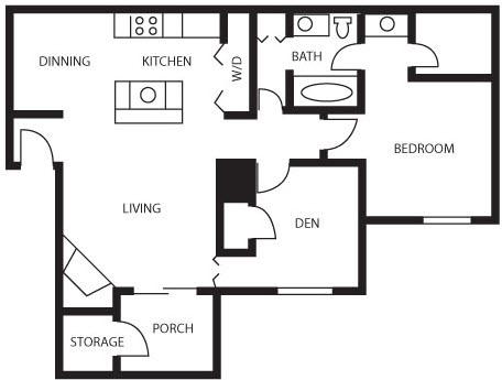 756 sq. ft. American Holly floor plan