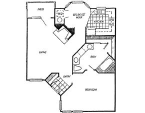 862 sq. ft. Corday floor plan