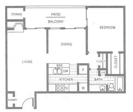 903 sq. ft. A4 floor plan