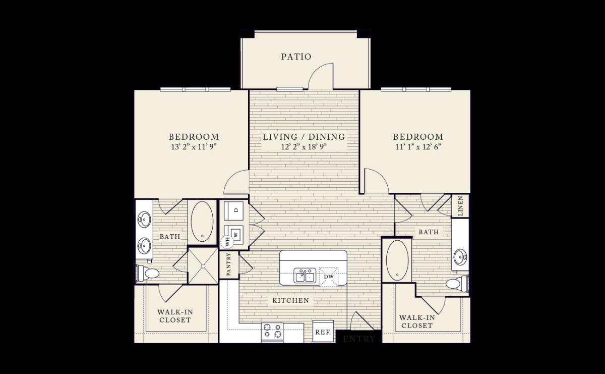 1,143 sq. ft. floor plan