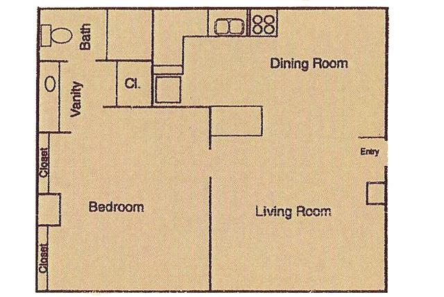 480 sq. ft. floor plan