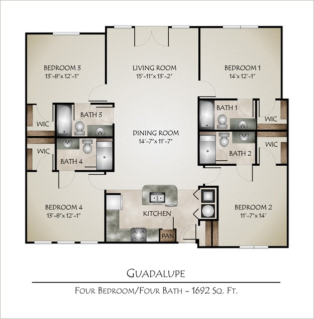 1,692 sq. ft. GUADALUPE floor plan