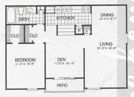 853 sq. ft. A3 floor plan