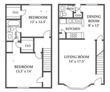 1,170 sq. ft. B4-/B4.2 floor plan