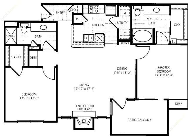 1,103 sq. ft. B2-G floor plan