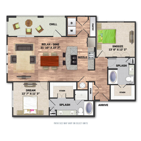 1,334 sq. ft. B3 floor plan