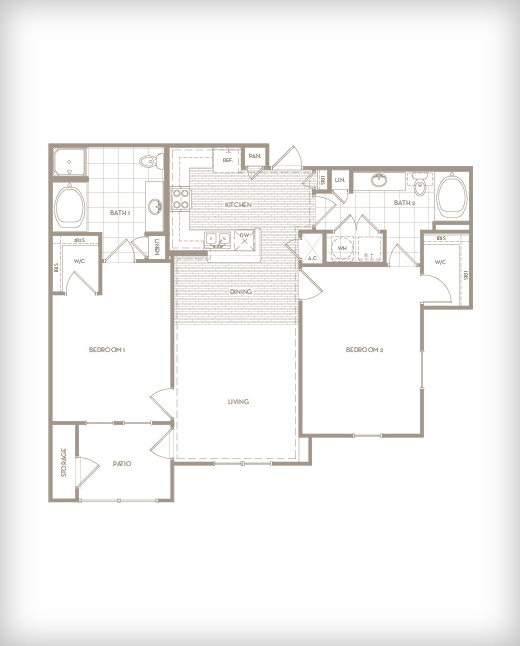 1,190 sq. ft. B3 Retreat floor plan