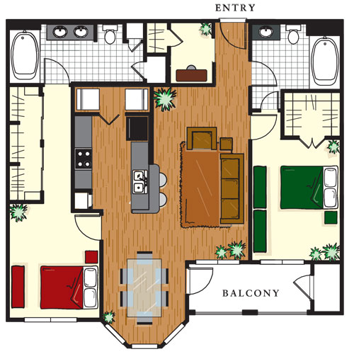 1,253 sq. ft. C3 floor plan