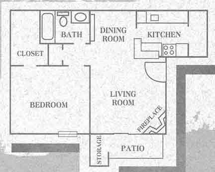 664 sq. ft. Willow floor plan