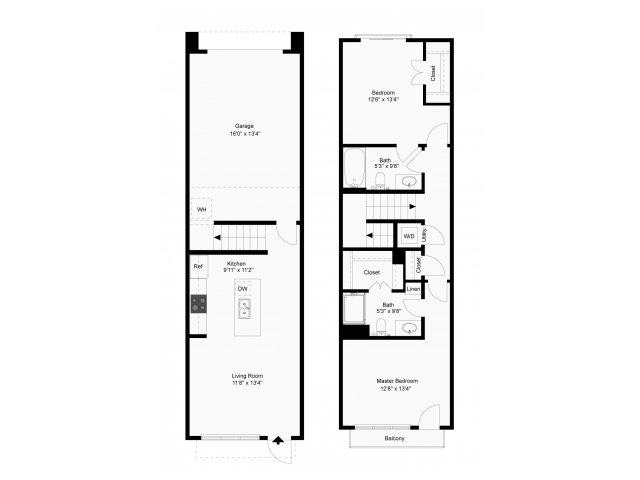 1,013 sq. ft. Lunar Delux floor plan
