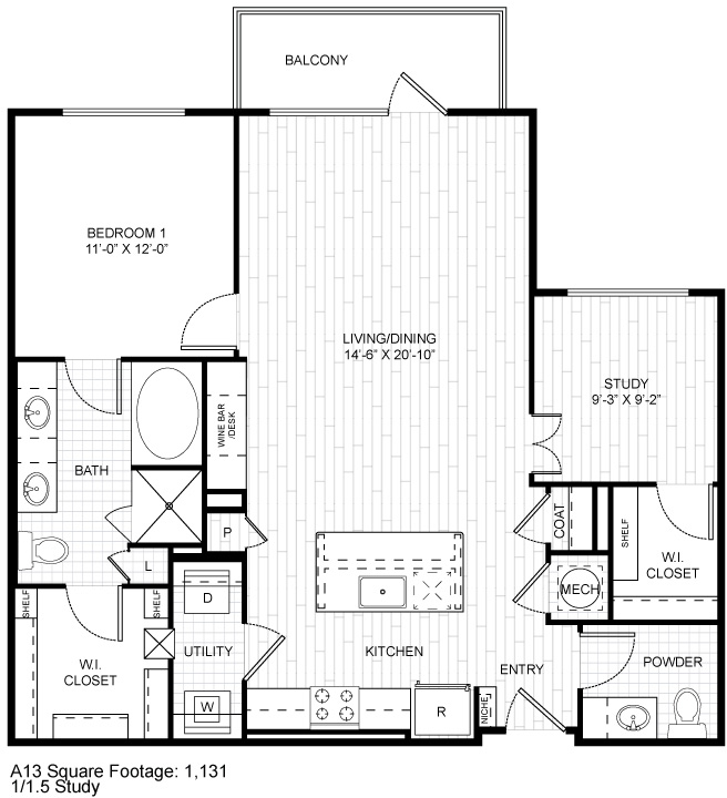 1,131 sq. ft. A13 floor plan