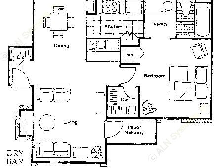 656 sq. ft. A4 floor plan