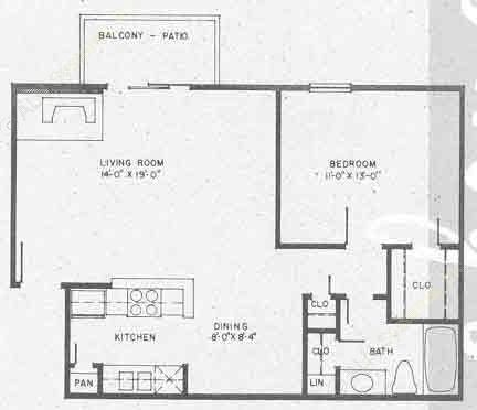 706 sq. ft. A5 floor plan