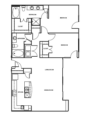 702 sq. ft. 2A1BVAH floor plan