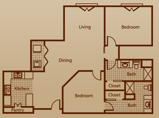 1,132 sq. ft. to 1,786 sq. ft. floor plan