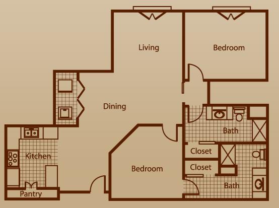 1,132 sq. ft. to 1,786 sq. ft. floor plan