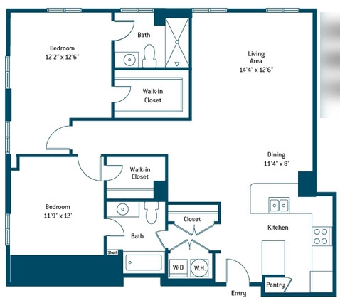 1,221 sq. ft. CL floor plan