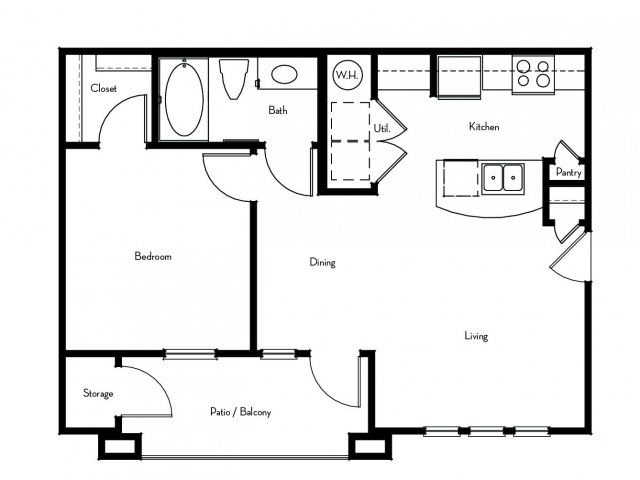 635 sq. ft. to 656 sq. ft. A1 floor plan