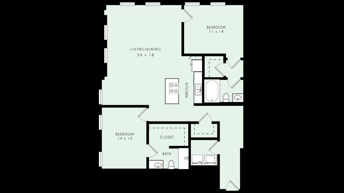 1,534 sq. ft. B12 MKT floor plan