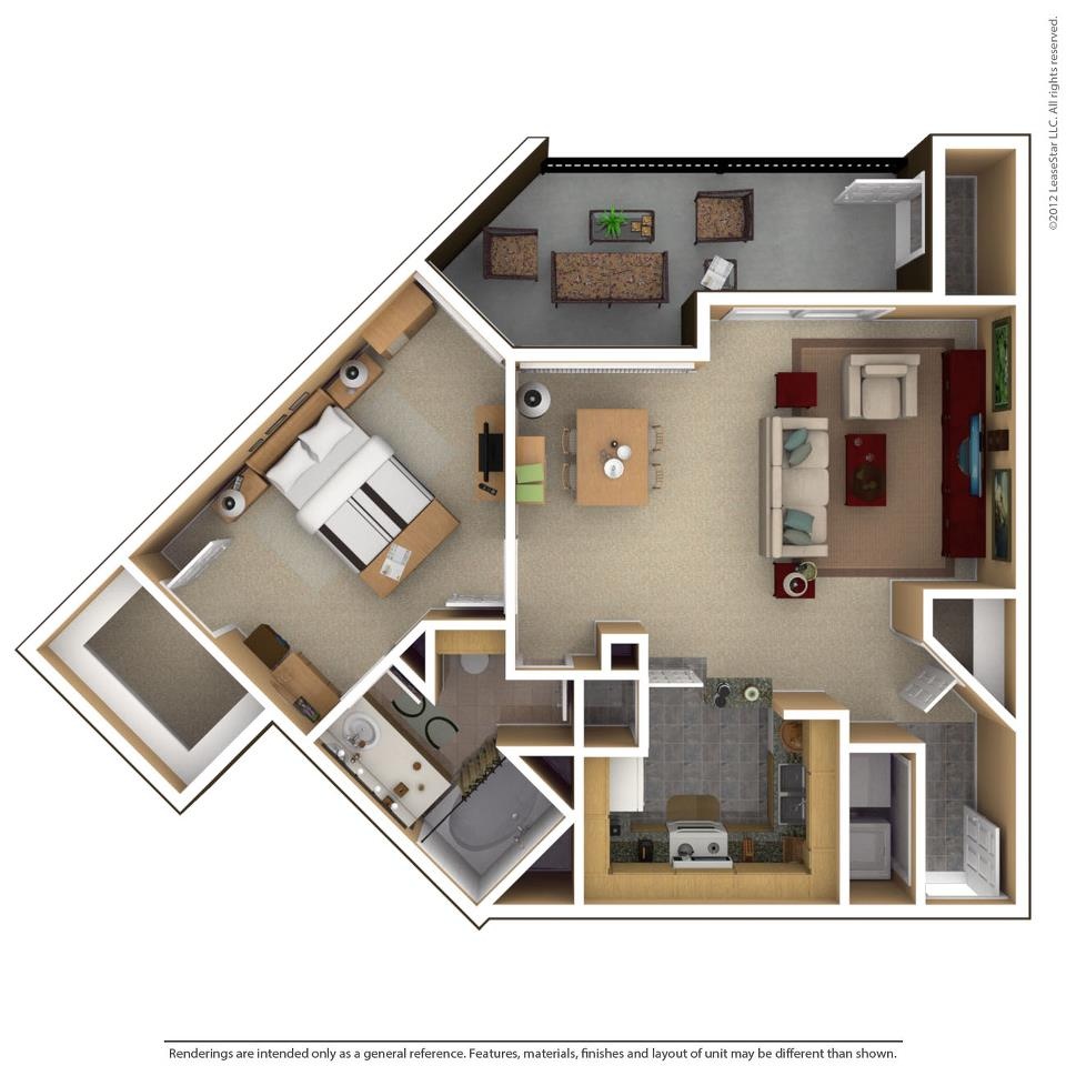 809 sq. ft. BELMONT floor plan