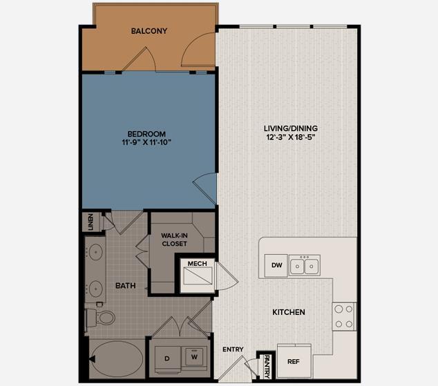 740 sq. ft. A4A floor plan