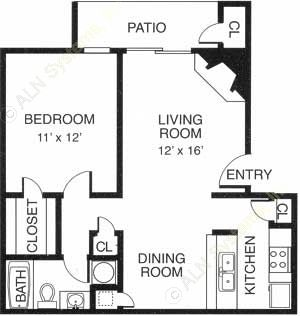 675 sq. ft. floor plan