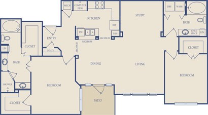 1,417 sq. ft. B4 floor plan
