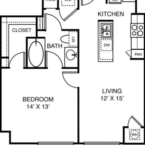 723 sq. ft. to 767 sq. ft. A3 floor plan