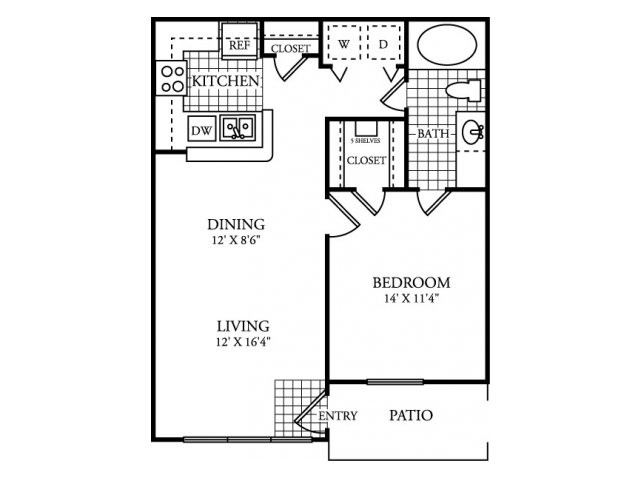 708 sq. ft. A floor plan