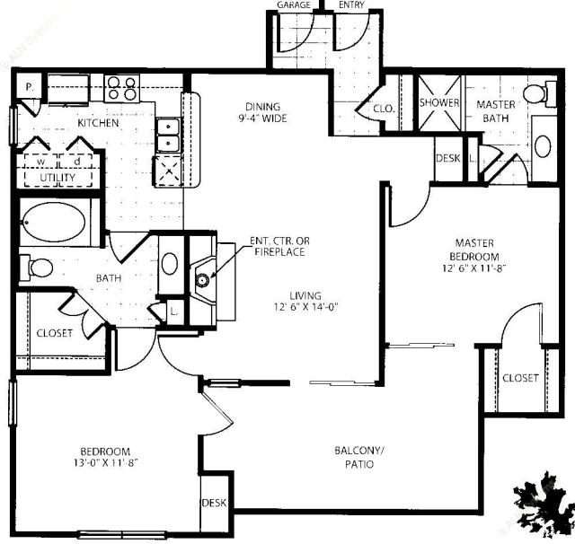 1,012 sq. ft. B1-G1 floor plan