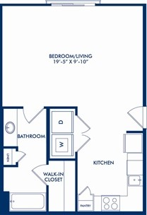 578 sq. ft. E3 floor plan