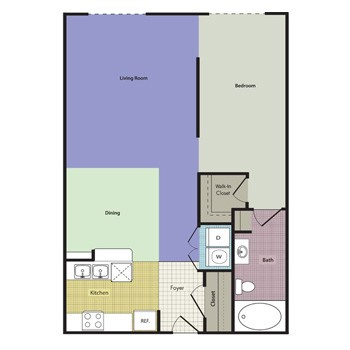 678 sq. ft. to 718 sq. ft. Berkley floor plan