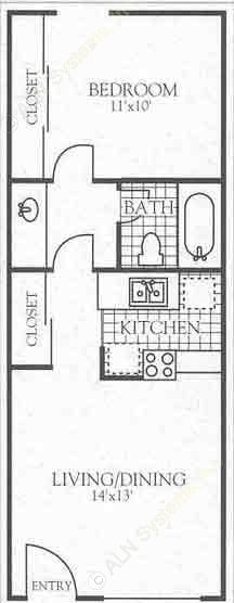 472 sq. ft. A1 floor plan