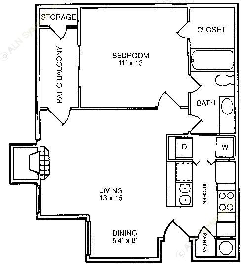 651 sq. ft. A2 floor plan