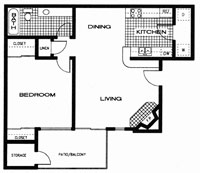 661 sq. ft. A floor plan