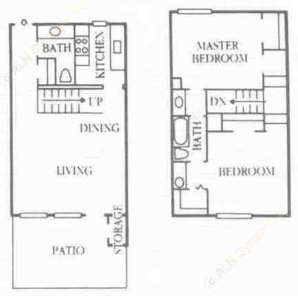 1,084 sq. ft. B4 floor plan