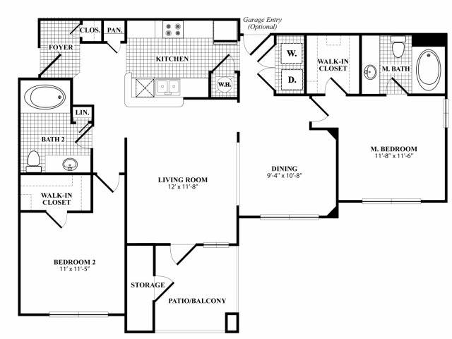 1,147 sq. ft. B3G floor plan