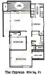 854 sq. ft. E floor plan