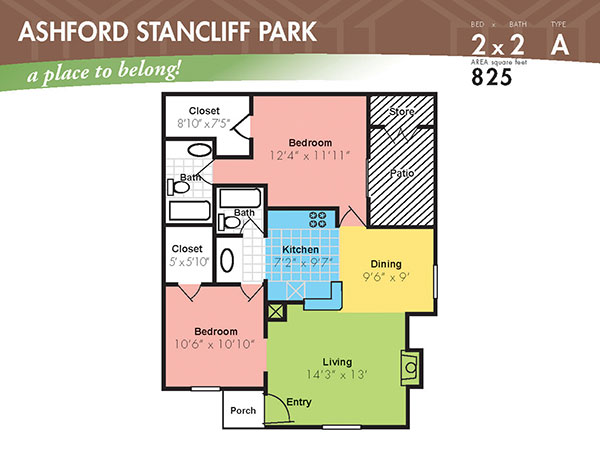 825 sq. ft. F floor plan
