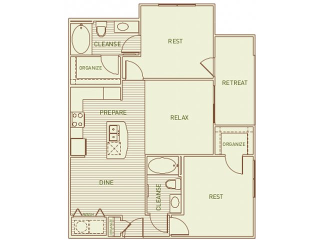 995 sq. ft. Lacey floor plan