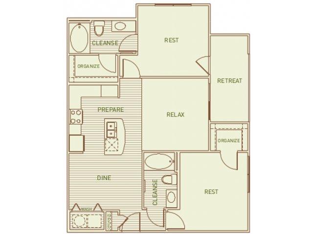 995 sq. ft. Lacey floor plan