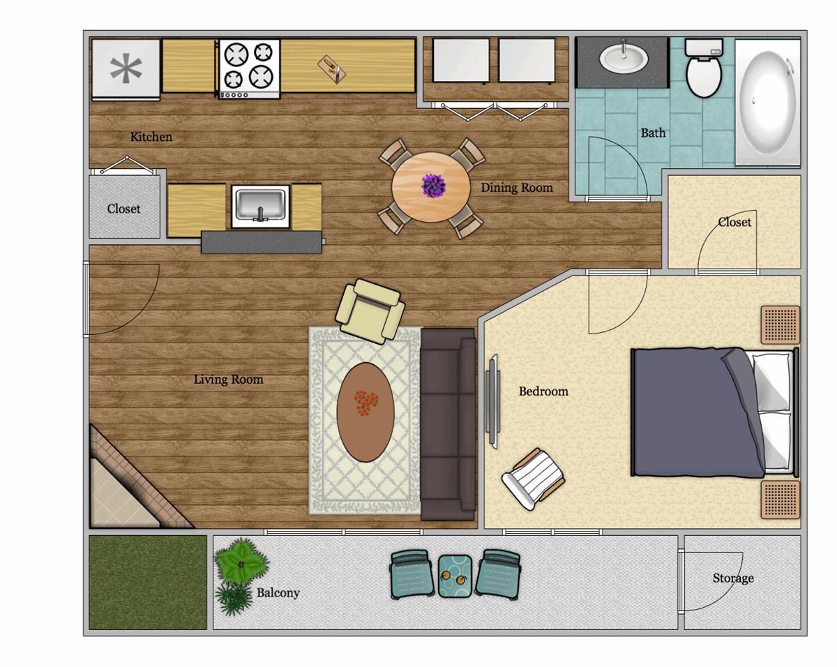 507 sq. ft. A3 floor plan