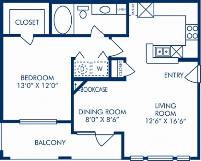 731 sq. ft. F floor plan
