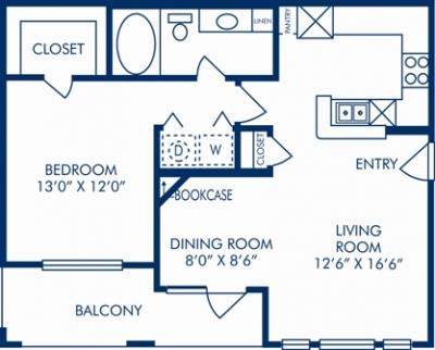 731 sq. ft. F floor plan