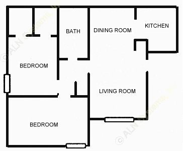 861 sq. ft. 2-1 floor plan