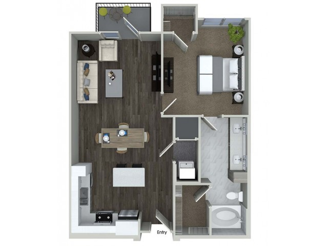 824 sq. ft. A6 floor plan
